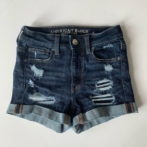 American Eagle High Waisted Ripped Jean Shorts 0